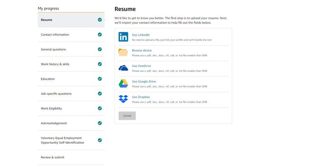 Amazon jobs online application process